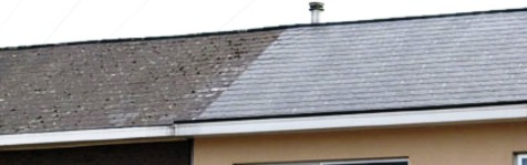 before and after demossing - cleaning slate roof