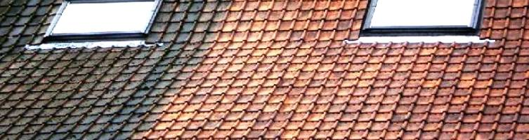 Before and after the roof cleaning - demossing roofs, walls, driveways, roof tiles and slates